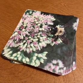 Bee with purple wings on flowers - coaster set
