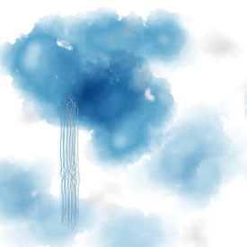 Blue clouds leaking - photo print