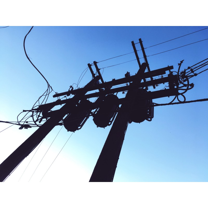 Dual telephone pole silhouettes - photo print - Primary Image