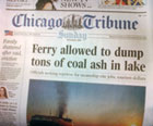 Chicago Tribune front page - On Lake Michigan, a coal-burning steamship gets a pass