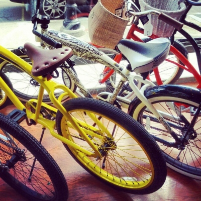 yellow and white bikes