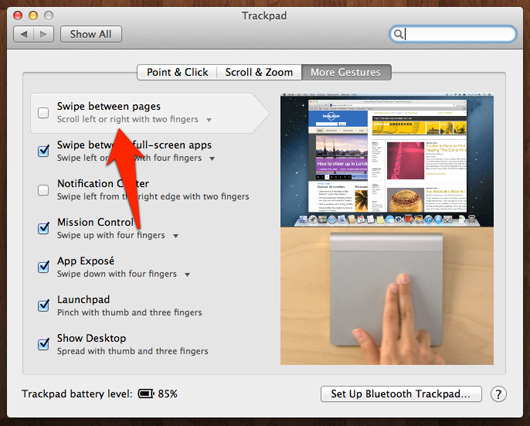 Mac's Trackpad Gesture to Swipe Between Pages