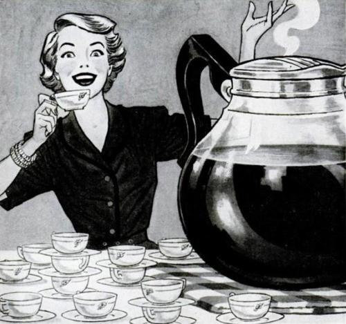 black and white lady with coffee cups and pot