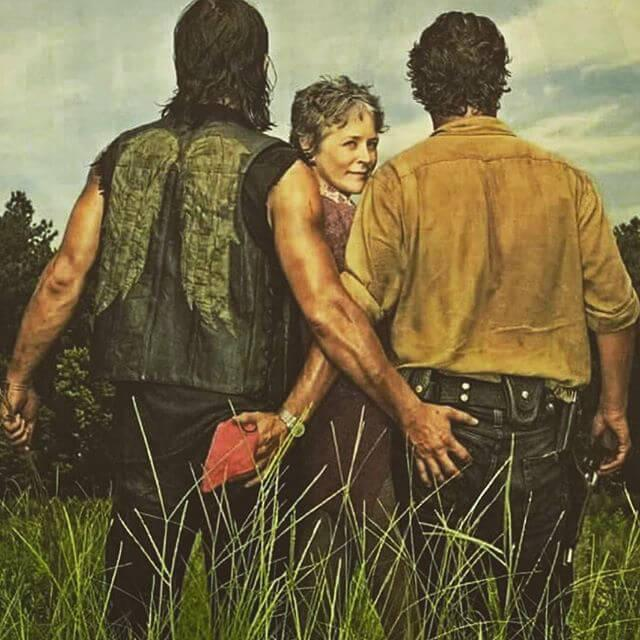 Daryl and Rick holding butts