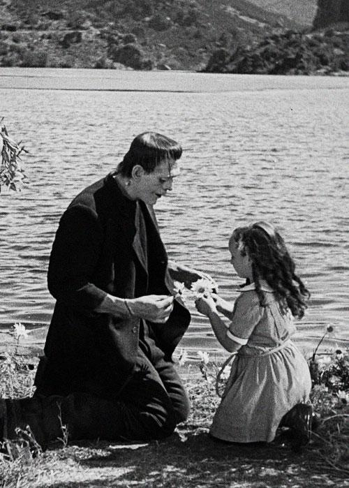 Frankenstein with the little girl he throws in the lake