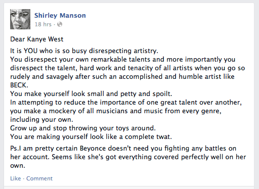 shirley manson - dear kanye west it is you who is so busy