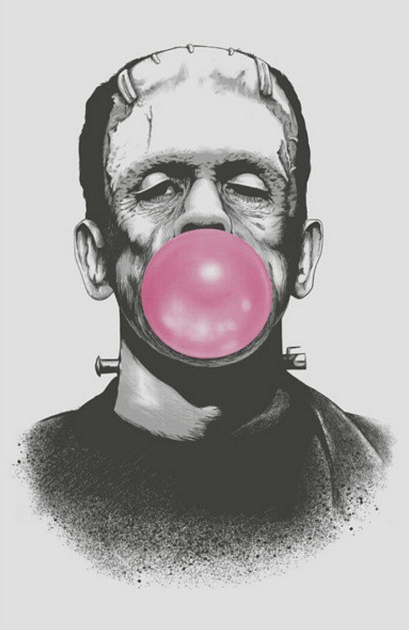 Frankenstein blowing a bubble