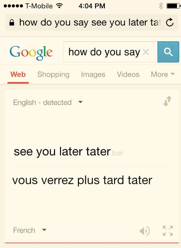 see you later tater in French