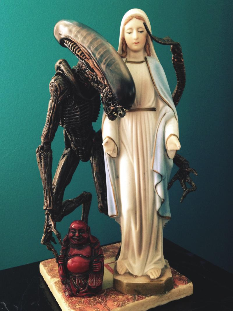 Alien  Mary  and Buddha   religious icons