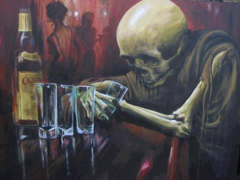 Skeleton alone drinking at a bar