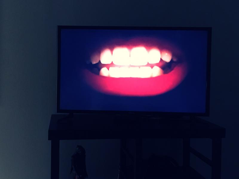 Rocky Horror lips on the TV