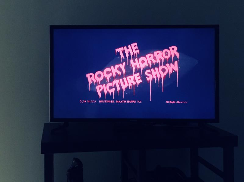 Rocky Horror title on the TV
