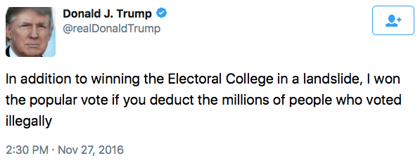 Trump tweets millions of votes were illegal