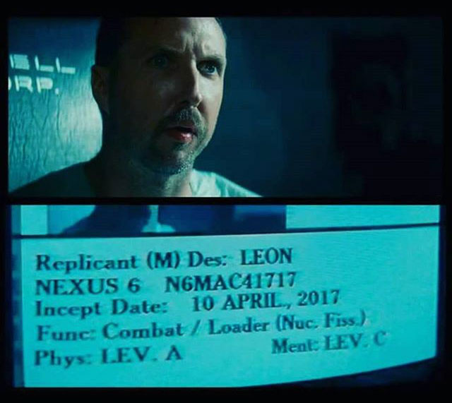 Leon's (from Blade Runner) birthday is April 10, 2017
