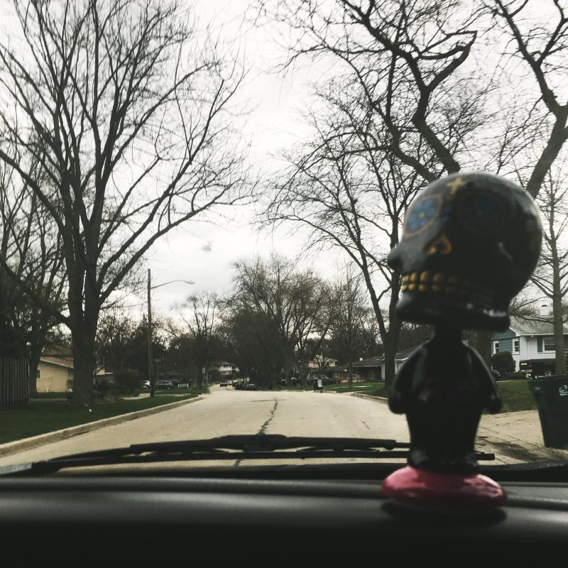 Rolling home with sugar skull bobble head