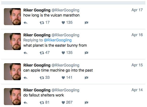Riker Googling on Twitter