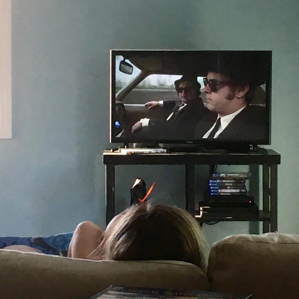 Maggie watching the Blues Brothers