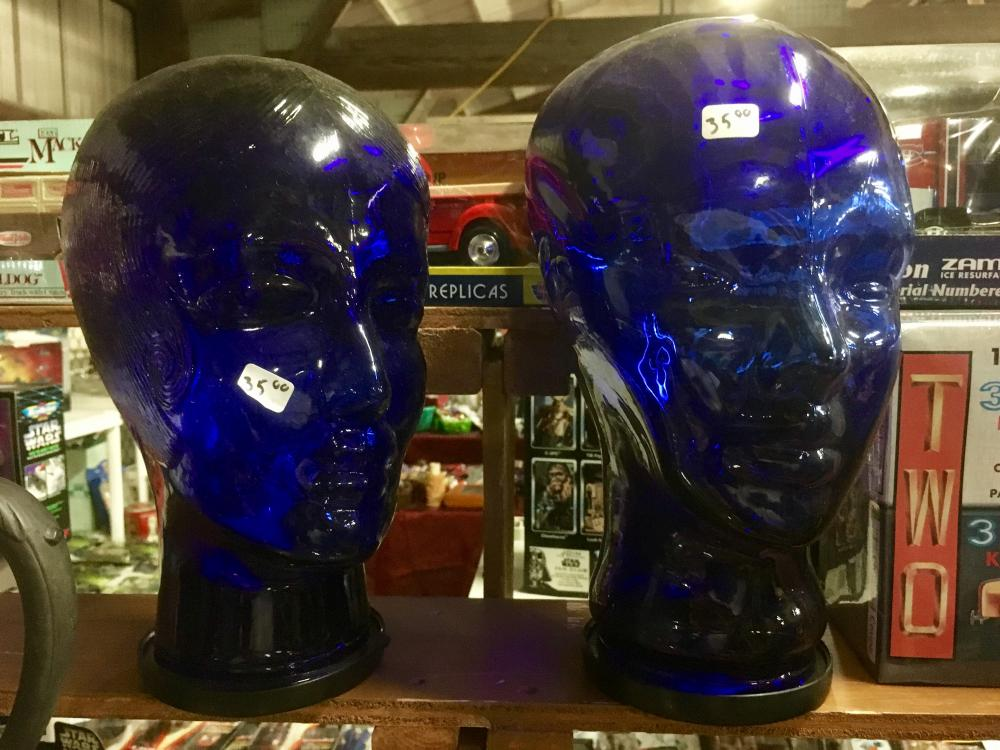 blue glass heads