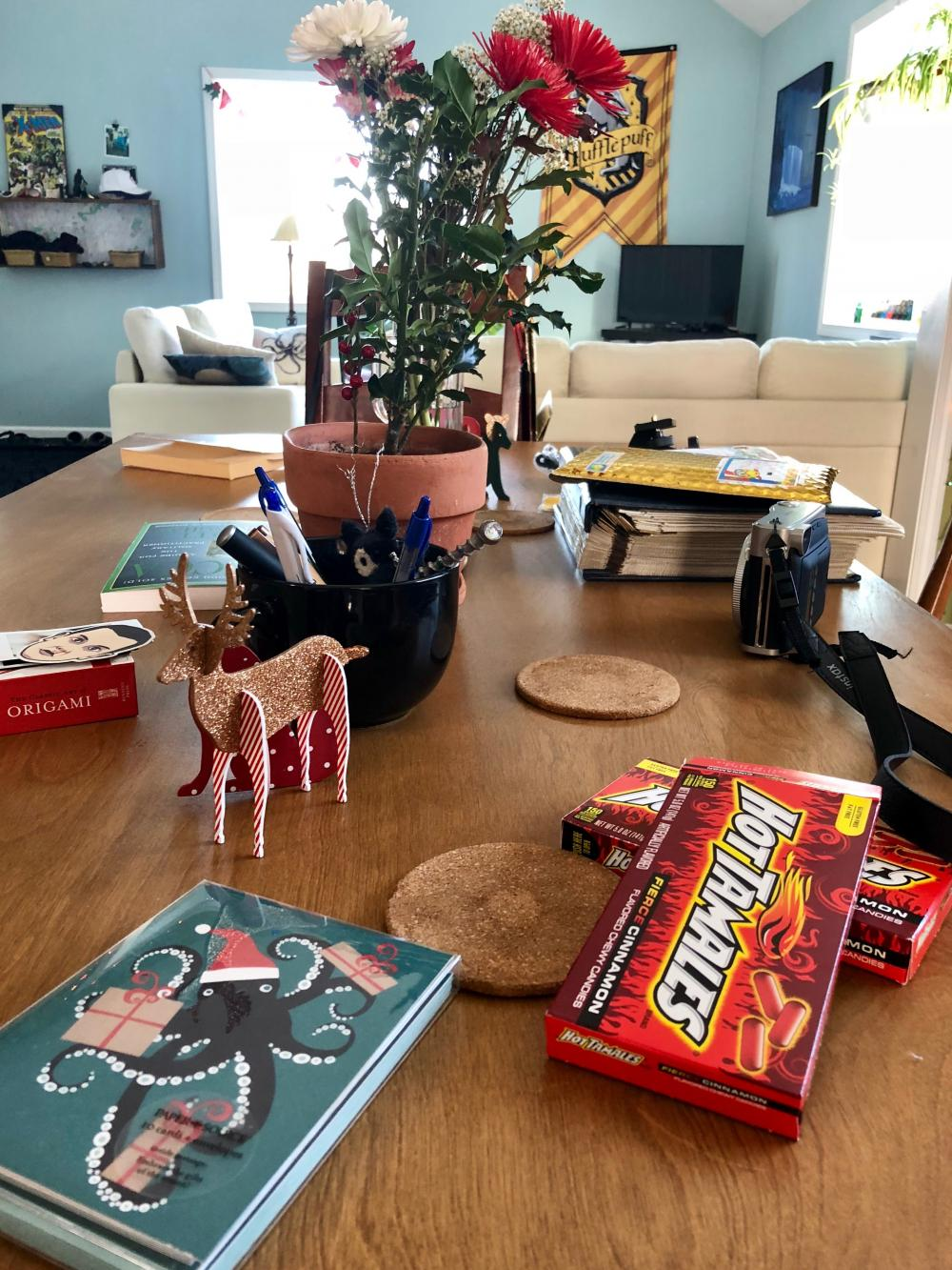 Dining room table after Christmas
