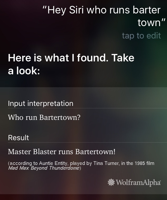 Hey Siri, who runs barter town?