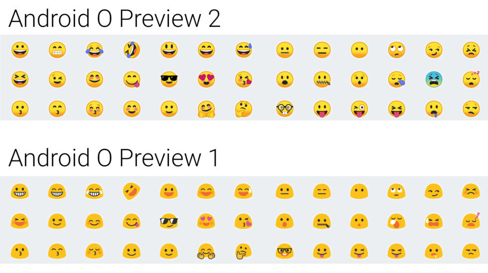 Android O Preview 2 emojis
