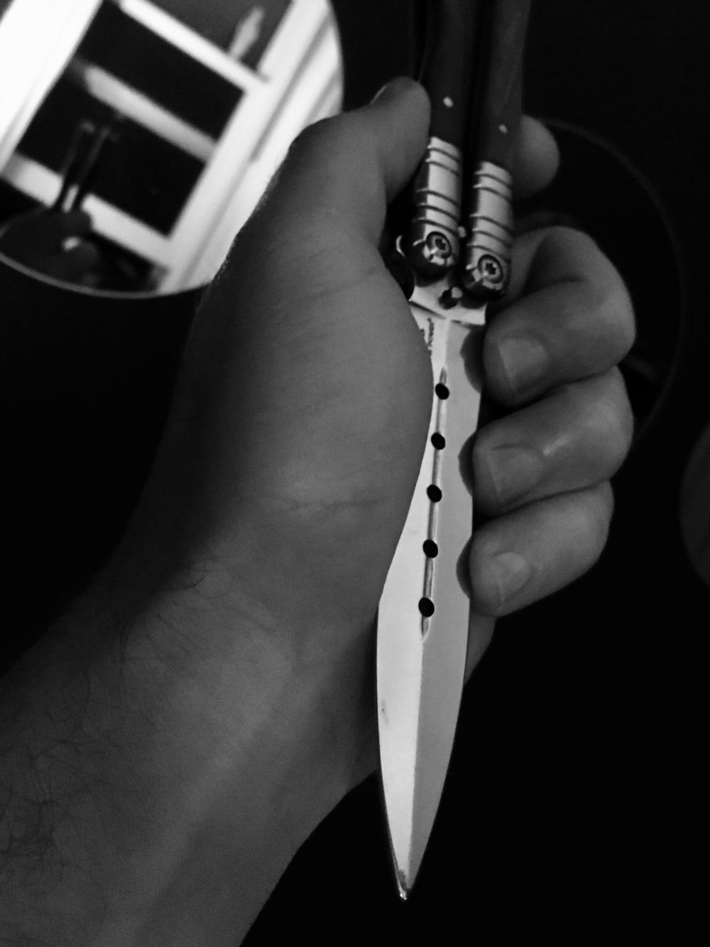 Black and white knife phootshoot