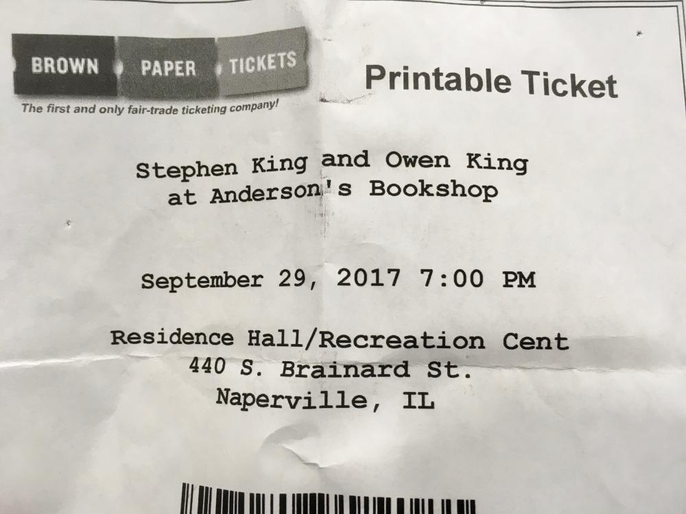 Stephen and Owen King in Naperville 2017 1 - ticket