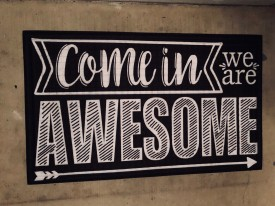 Come in we are Awesome rug