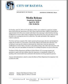 Suspicious Incident Media Release