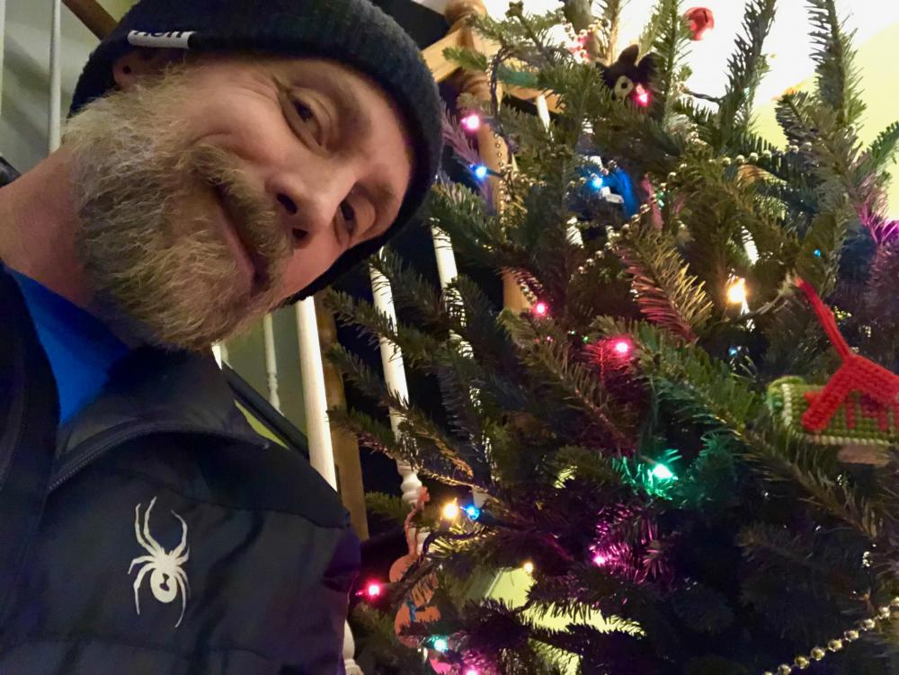 Me with Christmas tree 2