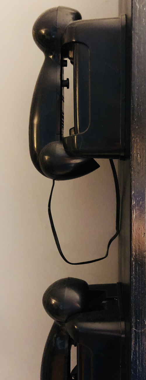 Two telephones mounted on the bookshelf