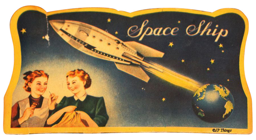 Vintage Atomic Space Ship Sewing Needle Book Made in Japan