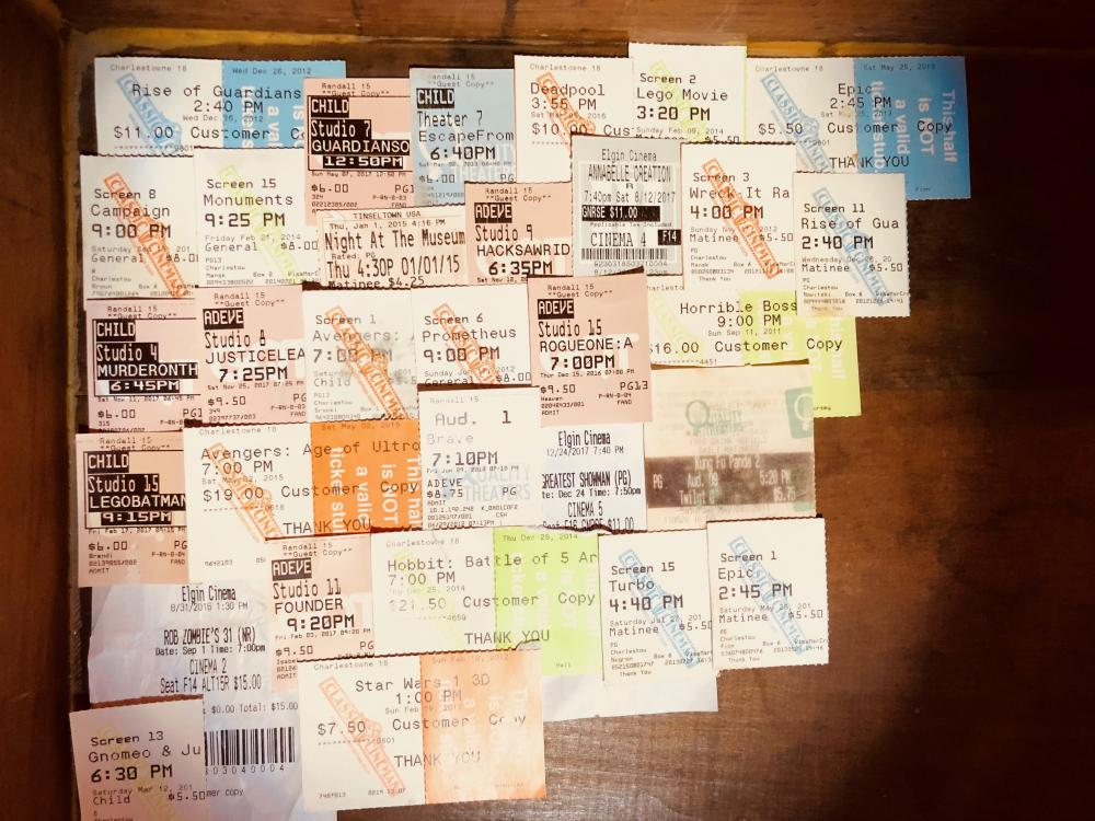 Movie ticket drawer