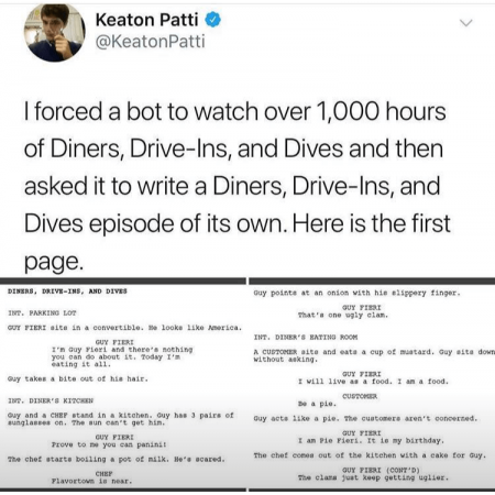 Diners Drive Ins and Dives bot episode