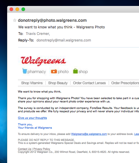Walgreens - do not reply