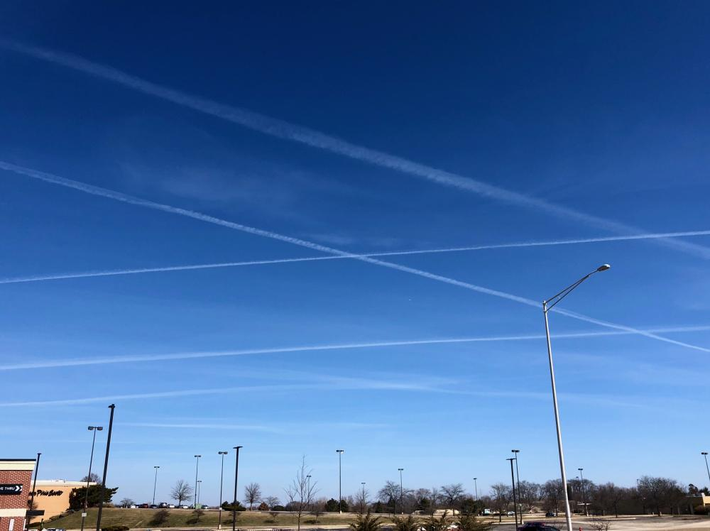Crisscrossed jet trails