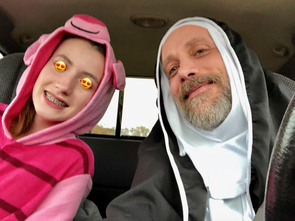 Maggie as Piglet and me as a nun