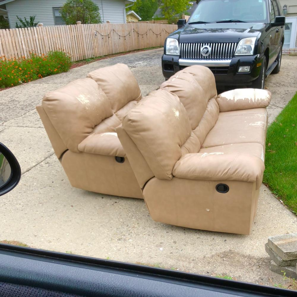 Free couch and loveseat on 7th and Moore