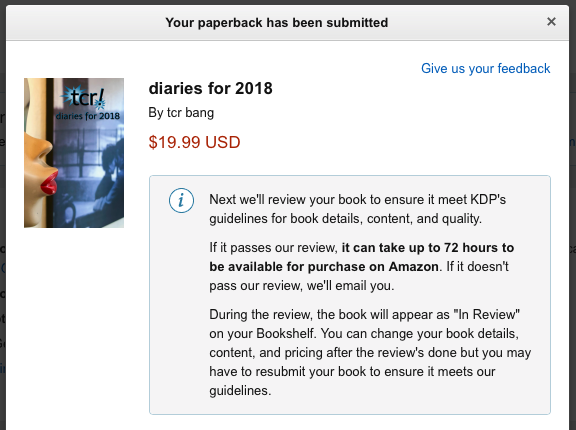 tcr! diaries for 2018 (under Amazon review)