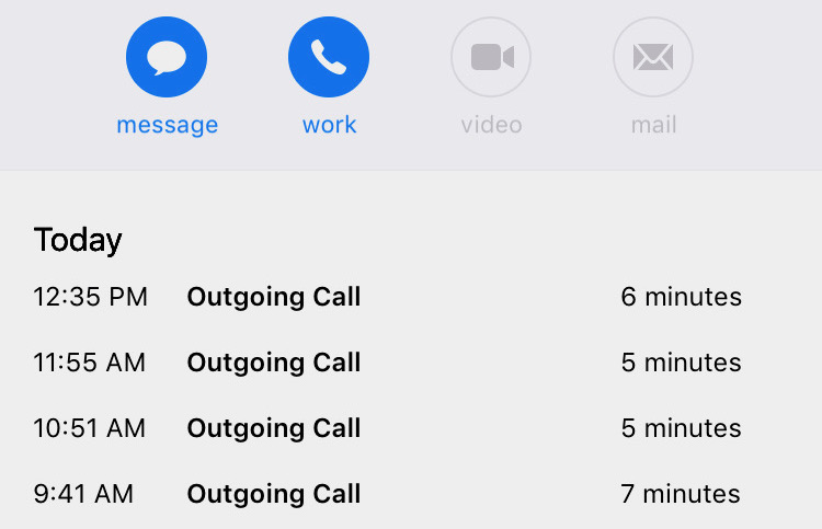 Four outgoing calls