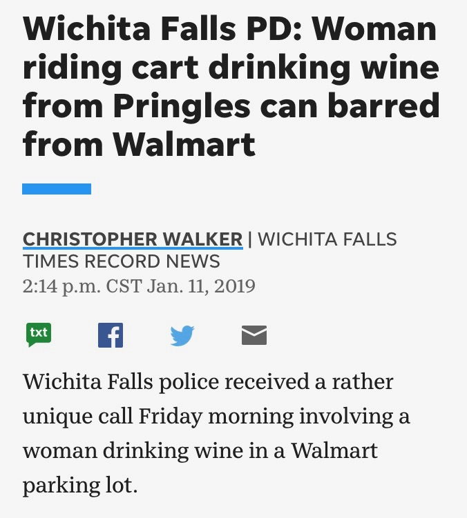 Woman riding cart drinking wine from Pringles barred from Walmart