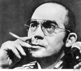 Hunter S Thompson in black and white
