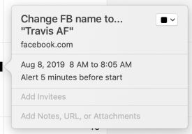 Reminder to change FB name