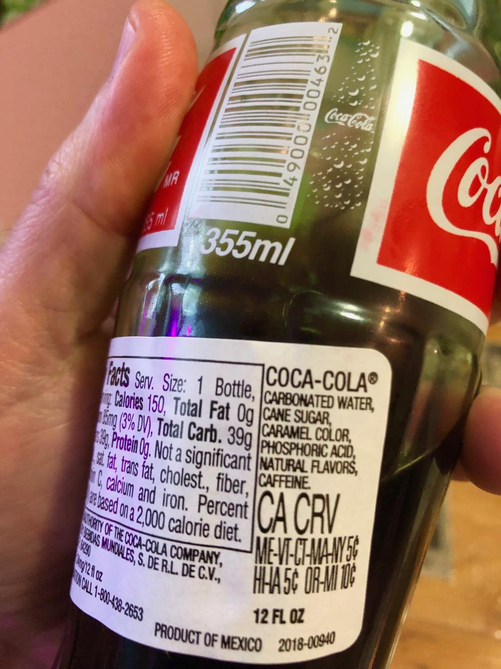 Mexican Coca-Cola, ingredients