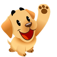 dog waving hi