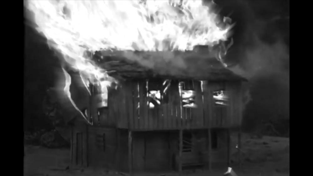 House Burning in Black and White