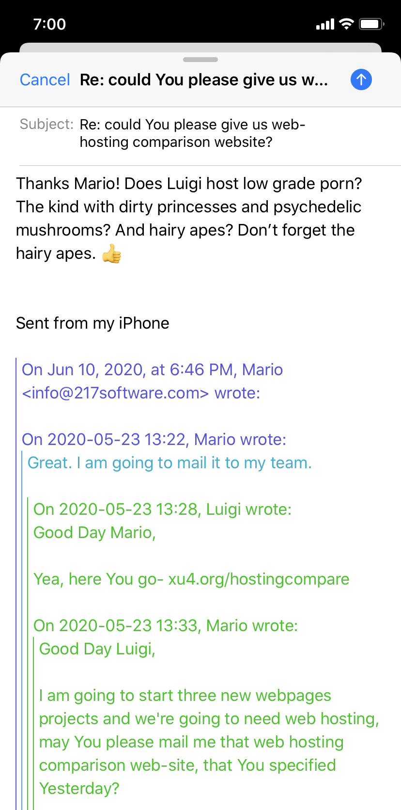 Email from Mario and Luigi