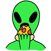 alien eating pizza