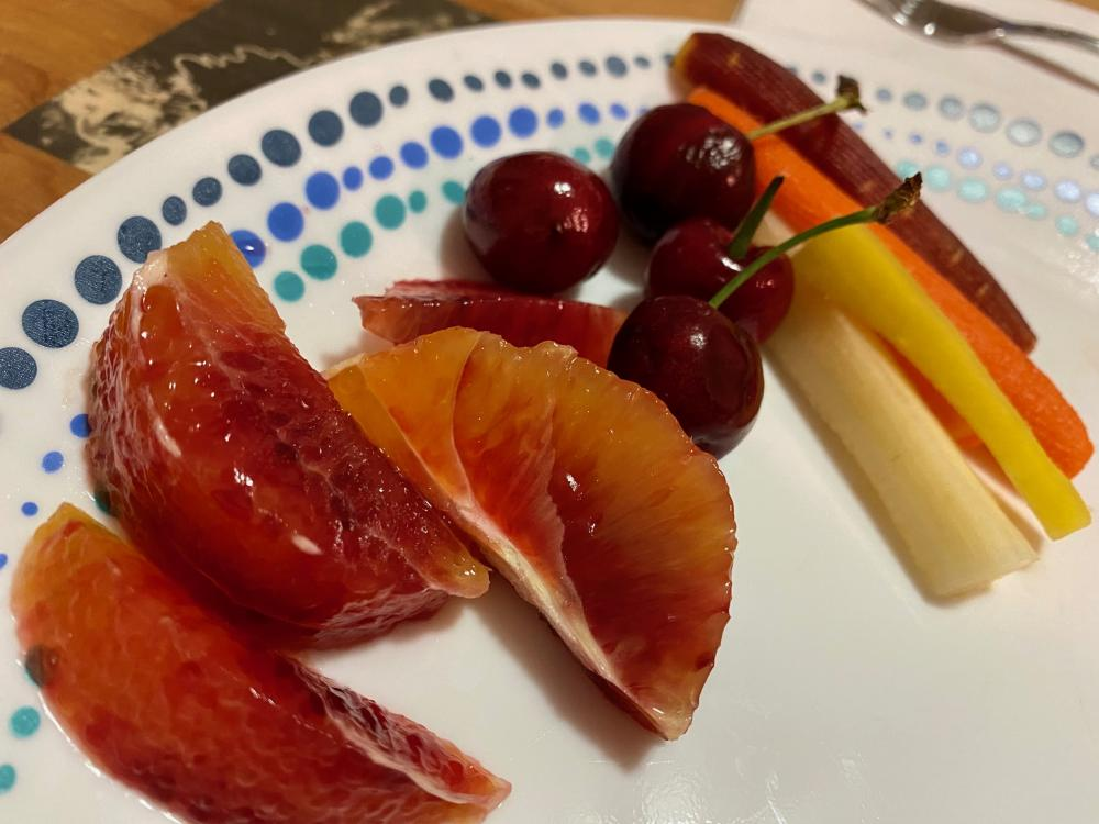 Blood oranges, sweet cherries, and tricolored carrots